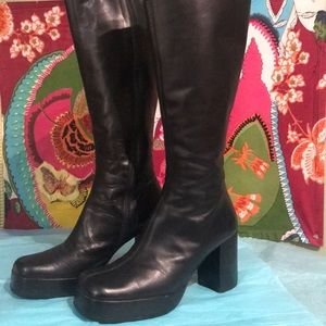 Kenneth Cole knee high black leather platform boot